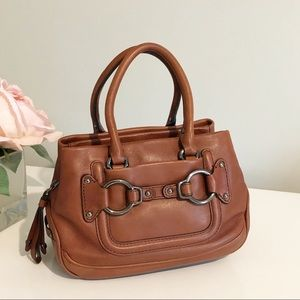 Cole Haan Stephanie Cognac Leather Mini Bag Purse